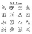 data icon set in thin line style vector image