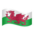 flag of wales waving on white background vector image