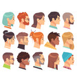 flat heads in profile different human heads male vector image vector image