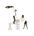 flat office workers at party set vector image