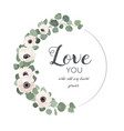 floral design card with white light pink anemone vector image