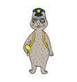 funny hand-drawn cat police office vector image