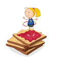 girl and bread vector image