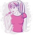 girl in a pink jacket with lollipop in his hand vector image vector image