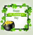 green frame with pot of gold vector image vector image