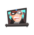 hacker face on laptop screen internet crime vector image