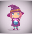 halloween little witch girl kid with angry face vector image vector image