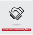 handshake icon in modern style for web site and vector image vector image