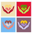 heart icon in love hands heart with cardio line vector image vector image