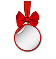 holiday paper round labels christmas balls vector image