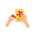 human hands glue colored paper details of applique vector image