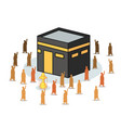 isometric kaaba surrounded by hajj pilgrimage vector image