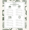 japanese food - vintage hand drawn template menu vector image vector image