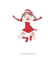 joyful anime manga girl as santa claus in a jump vector image vector image