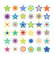 kaleidoscope crazy multicolor star set vector image vector image