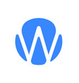 letter w logo modern blue font icon vector image vector image