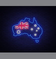 map and flag of australia are a neon sign vector image