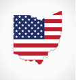 ohio oh state shape with usa flag vector image vector image
