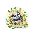 panda sticker emoticon lies happy vector image vector image