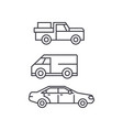 pickup car thin line icon concept pickup car vector image