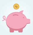 Pink piggy bank in which fly golden coin of dollar vector image