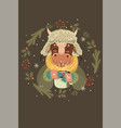 postcard with a christmas bull and decorative vector image