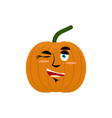 pumpkin winks emoji halloween and thanksgiving vector image vector image