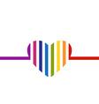 Rainbow heart minimalist card Valentines Day vector image