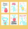 set of greeting cards with easter rabbits vector image