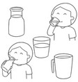 set of man drinking milk vector image vector image