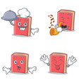 set of red book character with chef trumpet vector image vector image