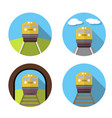 set of train icon in flat vector image
