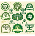 Set vintage labels with trees vector image