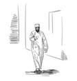 sketch of muslim arabic man in traditional vector image vector image