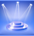 stage podium in blue neon spotlight vector image vector image