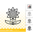 sunflower helianthus simple black line icon vector image
