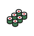 sushi icon on white background vector image