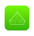 tent icon green vector image vector image