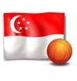 The flag of Singapore with a ball vector image vector image