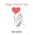 The heart in the left hand vector image
