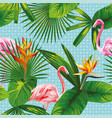 tropical leaves and flowers seamless flamingo vector image vector image