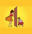 two women spy on each other through door vector image