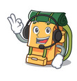 with headphone backpack mascot cartoon style vector image