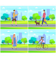 woman and man with dog skateboarder and afro girl vector image vector image
