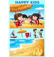 Children having fun on the beach vector image