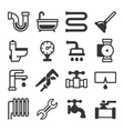 Plumbing Icons Set on White Background vector image
