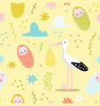 baby shower seamless pattern with cute stork vector image vector image