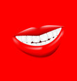 beautiful smiling mouth with white healthy teeth vector image