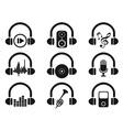 black headphone with music icons set vector image vector image