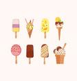 bundle sweet ice cream different types vector image